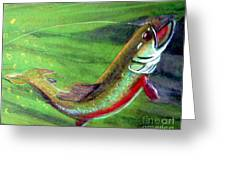 Trout On - Pastel Painting Greeting Card