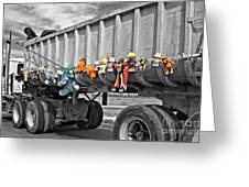 Truck And Dolls With Selective Coloring Greeting Card