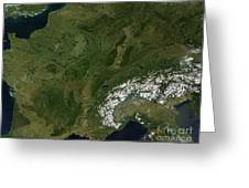 True-color Satellite View Of France Greeting Card