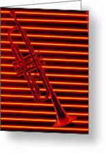 Trumpet And Red Neon Greeting Card by Garry Gay