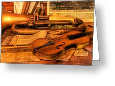 Trumpet And Stradivarius At Rest - Violin - Nostalgia - Vintage - Music -instruments  Greeting Card by Lee Dos Santos