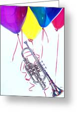 Trumpet Lifted By Balloons Greeting Card