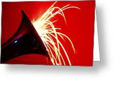 Trumpet Shooting Sparks Greeting Card