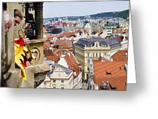Trumpeter - Prague Old Town Square Greeting Card