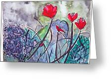 Tulips And Hydrangea Greeting Card