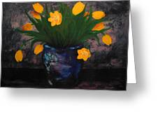 Tulips In Blue Greeting Card
