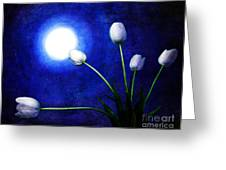 Tulips In Blue Moonlight Greeting Card