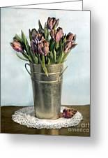 Tulips In Metal Vase Greeting Card