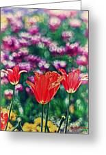 Tulips On Beautiful Bokeh Greeting Card
