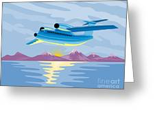 Turbo Jet Plane Retro Greeting Card