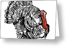 Turkey, Woodcut Greeting Card by Gary Hincks