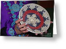 Turquoise And Navajo Wedding Basket Greeting Card by Anne Gordon