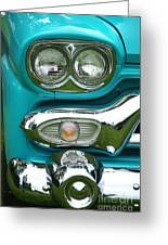 Turquoise Headlight Greeting Card