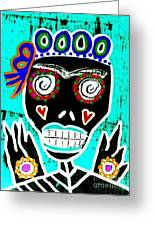 Turquoise Queen Sugar Skull Angel Greeting Card