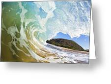 Turquoise Wave Breaking On Makena Shore Greeting Card