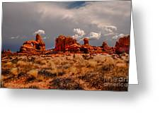 Turret Arch And Storm Clouds Greeting Card