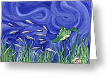 Turtle Chasing Minnows Greeting Card
