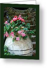 Tuscan Earthenware Pot And Flowers Greeting Card