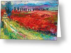 Tuscany Italy Landscape Poppy Field Greeting Card