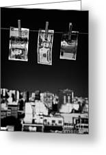 Twenty Pounds Dollars Euro Banknotes Hanging On A Washing Line With Blue Sky Over City Skyline Greeting Card