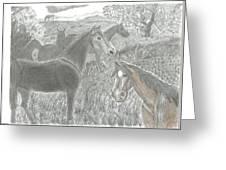 Twilight Horses Greeting Card