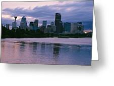 Twilight On The Bow River And Calgary Greeting Card