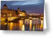Twilight Over River Seine And Conciergerie Greeting Card