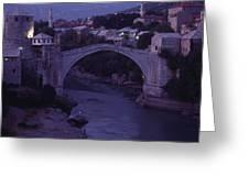 Twilight View Of A 15th-century Bridge Greeting Card
