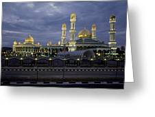 Twilight View Of An Illuminated Mosque Greeting Card