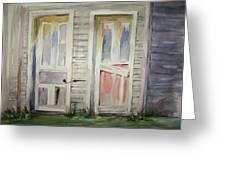 Twin Doors Greeting Card