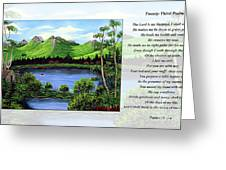 Twin Ponds And 23 Psalm On White Greeting Card