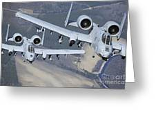 Two A-10c Thunderbolt II Aircraft Fly Greeting Card