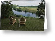 Two Adirondack Chairs On A Scenic Greeting Card by Randy Olson