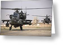 Two Ah-64 Apache Helicopters Return Greeting Card