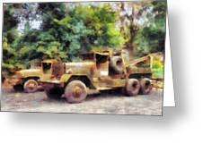 Two Army Trucks Greeting Card