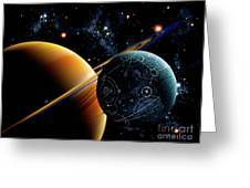 Two Artificial Moons Travelling Greeting Card