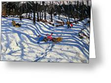 Two Boys Falling Off A Sledge Greeting Card