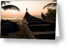 Two Canoes On The Beach At The Arabian Greeting Card