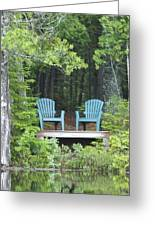 Two Chairs Sit At A Lakeside Camp Greeting Card