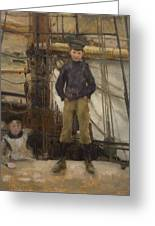 Two Children On Deck Greeting Card