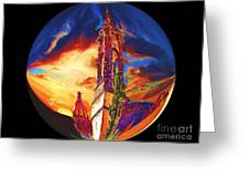 Two Churches In A Globe Greeting Card