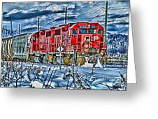 Two Cp Rail Engines Hdr Greeting Card