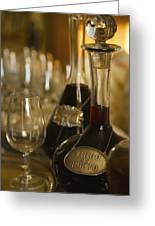 Two Decanters Of Port Wine And Glasses Greeting Card