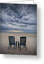 Two Deck Chairs At Sunrise On The Beach Greeting Card