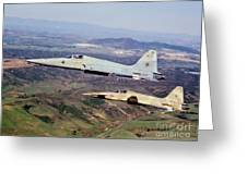 Two F-5e Tiger IIs In Flight Greeting Card