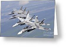 Two Fa-18 Hornets And Two F-15 Strike Greeting Card
