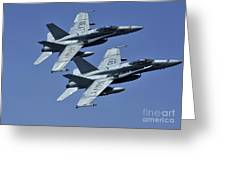 Two Fa-18c Hornets In Flight Greeting Card