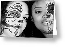Two Faces In Black And White Greeting Card