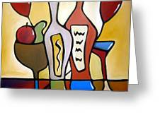 Two-fer - Abstract Wine Art By Fidostudio Greeting Card by Tom Fedro - Fidostudio