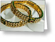 Two Green And Gold Bangles On Top Of Each Other Greeting Card